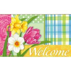 Spring Madras Matmate Doormat by Magnet Works, Ltd.. $20.95. Made with non-slip rubber. Vibrant colors, fade-resistant doormats.. Use MatMates Doormats alone or with the decorative tray (as shown).. Weatherproof outdoor doormats or use as indoor doormats.. MAIL13926 Features: -Material: Recycled rubber.-With a non woven polyester face.-Weatherproof.-For indoor/outdoor use.. Save 16% Off!