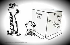 Calvin And Hobbes: Transmogrifier Diorama Paper Model - by Dave`s Geek Ideas - == -  A simple and cute paper model diorama for all fans of Calvin and Hobbes. This Transmogrifier diorama was created by designer Dave Delisle, from Dave`s Geek Ideas website.