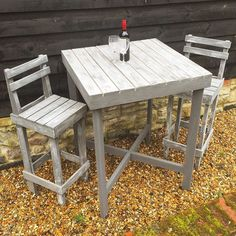 Getting ready for the summer sustainably! Table and Chairs made from upcycled pallets and shipping crates. Painted in French Grey with white highlights for a rustic country feel.  #upcycle #upcycled #upcycledfurniture #reclaimed #reclaimedfurniture #handpained #furniture #furnituredesign #gardenfurniture #outdoorfurniture #summer #summertime #country #springtime #design #home #garden #sustainability #southampton #hampshire Re-post by Hold With Hope