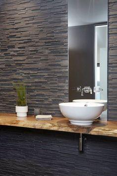 comptoir Loft Bathroom, Stone Bathroom, Basement Bathroom, Bathroom Ideas, Bathrooms, Toilet Tiles, Zen Interiors, Dental Office Design, Master Bedroom Closet