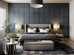 Ein dunkler Grauton an der kassettierten zentrale Akzent Wand gibt den Ton für das Master-Schlafzimmer.