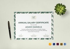 annual salary certificate template 12 formats included illustrator indesign ms word pages