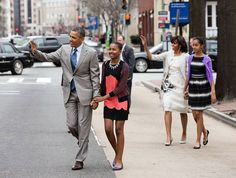 President Obama  President Barack Obama and First Lady Michelle Obama walk with their daughters Sasha and Malia to attend Easter service at St. John's Church in Washington, D.C., Sunday, March 31, 2013. (Official White House Photo by Pete Souza)