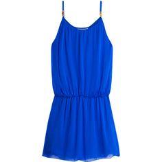 HEIDI KLEIN Drop Waist Chiffon Dress ($337) ❤ liked on Polyvore featuring dresses, vestido, electric blue dress, chiffon ruffle dress, chiffon beach dress, strap dress and strappy chiffon dress