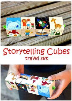 Frog in a pocket: Storytelling Cubes travel set.-Easy DIY or Kids Craft