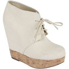 "Abigayle Cork Platform Wedge Booties Canvas upper, cork sole. Lace up. 5 inch heel height. 1"" platform. Has a little Acne Atacoma vibe. Steve Madden Shoes"