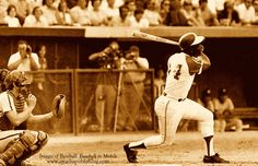 """On this day in history, April 8, 1974: Henry """"Hammerin' Hank"""" Aaron broke Babe Ruth's home run record. Hank Aaron, in his last season with the Atlanta Braves, hit his 715th HR off of the Los Angeles Dodgers' Al Downing."""