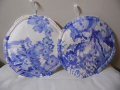 Pot Holders Set of 2 Blue and White Round Pot Holders #Handmade