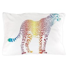 Abstract rainbow cheetah Pillow Case on CafePress.com