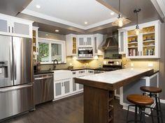 Dark floors,  light cabinets  As seen on the HGTV series, House Hunters Renovation -->  http://hg.tv/vtdq