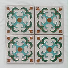 Set of 4 Gila / Desert House Mimbres Tiles