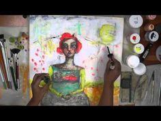 mixed media painting demo, art swap, part 2 of 2
