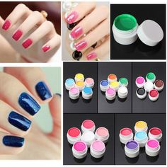 6 Colors Manicure Acrylic Extension Pure Nail Art UV Gel Set