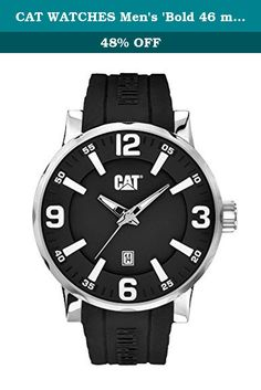 5d68a41f688c Men s CAT Caterpillar Bold Black And Stainless Rubber Watch