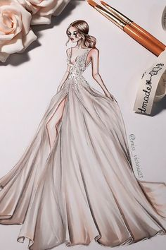 Bridal Illustrations From Popular Dress Designers ❤ See more: http://www.weddingforward.com/bridal-illustrations/ #weddingforward #bride #bridal #wedding
