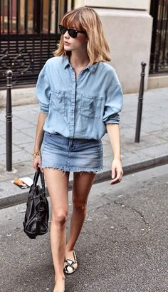 chambray top with denim mini skirt