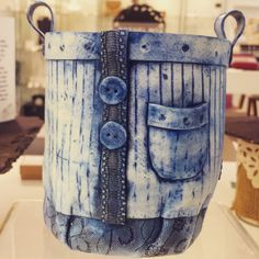 These handmade porcelain denim pots by Lynda B ceramics look anything BUT ceramic! Incredible detail, these little pots add great character to any home! Available in our Shop here at Space CRAFT, Belfast