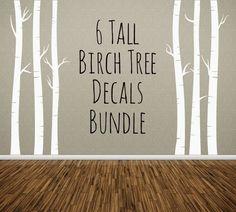 NURSERY TREE WALL DECAL, Birch Trees Bundle of 6, Removable Vinyl Wall Sticker