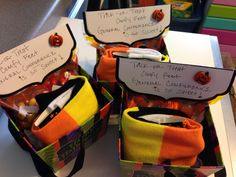 """General Conference Visiting Teaching Idea in October. Halloween socks, sweets like chocolate all wrapped in a Halloween gift box. The tag says """"Trick or Treat, comfy feet, General Conference is so sweet!"""" Than just add a spiritual message."""