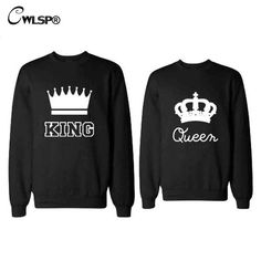 Casual Couples Sweatshirt KING Queen Crown Printing Sweatershirts Long  Sleeve Unisex Lovers Pullover Poleron Mujer Shirts 7820db7c29d55