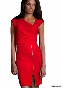 100f0671251b RED-PLATED-FRONT-ZIP-DESIGN-SHIFT-BODY-CON-MINI-PARTY-CLUB-EVENING-DRESS -10-12