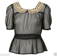 TOPSHOP Sheer Polka-dot Cream Lace Peter Pan Collar 40s Vtg Blouse 6 8 10 XS / S #TopShop #Blouse #Any