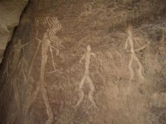 Cave drawing in Gobustan - Petroglyphs in Gobustan dating back to 10,000 BC indicating a thriving culture - near Gobustan, Azerbaijan