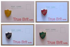 """True Brit Knits """"Knitter"""" badges in Hogwarts house colours."""