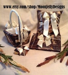 MAX4 Camo and Ivory Satin Wedding Set - Ring Bearers Pillow, Flower Girls Basket, Guest Book & Pen... ok I lied they are $75