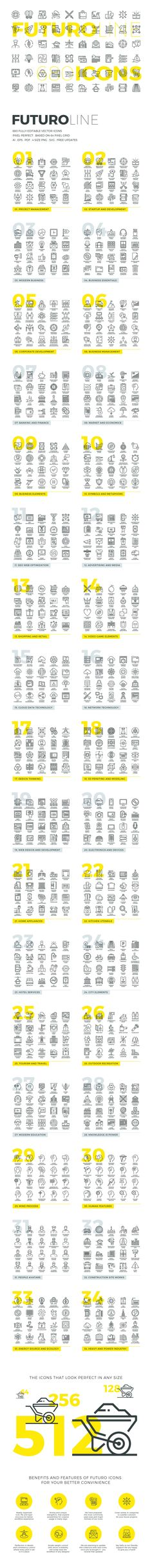 Futuro Line Icons https://creativemarket.com/Bloomua/464583-Futuro-Line-Icons?u=MeeraG | #vector #line #icons #set #collection #business #web #design #website #creative #symbol #stroke #flat #outline #pack #thin #development #technology #graphics #icon