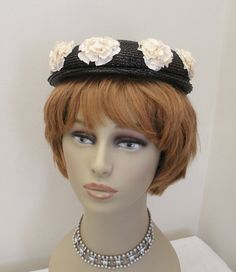 Vintage Black Straw Hat with White Roses & by WildrosePrimitives