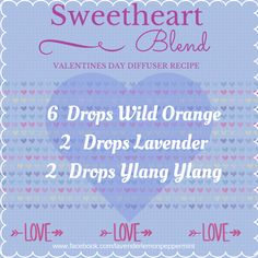 Sweetheart essential oil blend. Great for Valentine's. Set the mood!