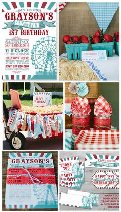 County Fair Birthday Invitation and matching Party Kit from PartyMonkey on Etsy