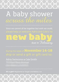 Baby Shower Invite For Out Of Town Friends/family Who Most Likely Wonu0027t Be  Able To Attend In Person.