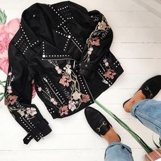 "Hello dream jacket and welcome to our wardrobe  #TopshopStyle  Click the link in the bio to shop the style or search ""Embroidered leather jacket"" at Topshop.com. @laurahadlow"