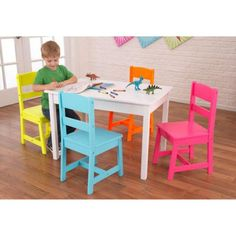 KidKraft Highlighter Table and 4 Chair Set - 26324 - 26324
