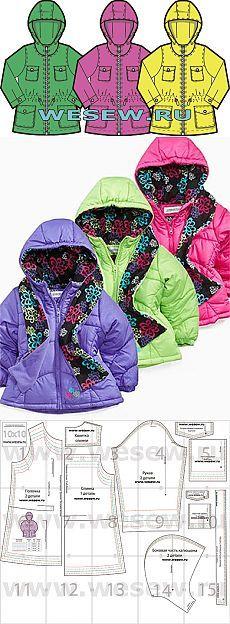 Выкройка детской курточки в натуральную величину для детей от 3 до 7 лет на рост 104 – 128 см Основы кроя и шитья