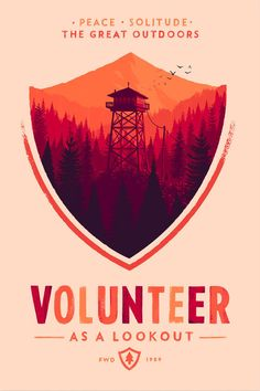 Arresting artwork by Olly Moss for Campo Santo's forthcoming game, Firewatch.