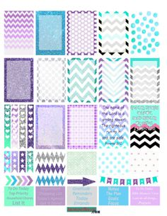 Happy Planner Teal & Purple Dots and Chevron Stickers - Free Printable