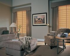Window Valence with Shade. WIndow Cornice. Wooden Blinds with Curtain Panels