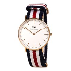 Daniel Wellington 0502DW Women's Classic Canterbury White Dial Rose Gold Steel Nylon Strap Watch