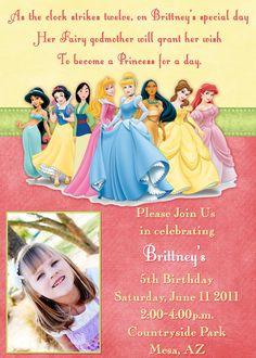 Disney Princess Invitation new