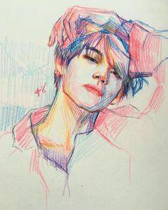 V taehyung colored pencils polychromos Kpop Drawings, Pencil Art Drawings, Art Drawings Sketches, Art Du Croquis, Taehyung Fanart, Color Pencil Art, Colour Drawing, Colored Pencil Portrait, Arte Sketchbook