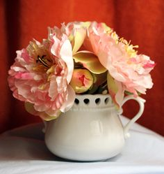 Silk Flower Arrangement in Vintage Porcelain by AnythingDiscovered, $32.00