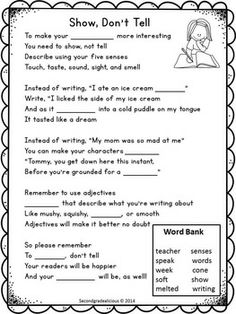 Free Show Don't Tell Graphic Organizer for writing about ...