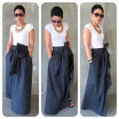 Cute Blue Maxi Skirt With A Bow Fashion