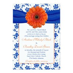 "Orange Gerber Cobalt Floral Wedding Invitation 5"" X 7"" Invitation Card"