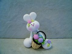 Bunny Easter Basket Figurine by countrycupboardclay on Etsy