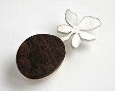 Melitina Balabin ~DESERT PATH, #brooch, silver, wood, 80 mm, 2009 | melitina.balabin.net
