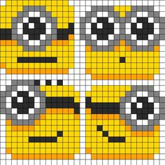 Lil_Minion_Blobs by TheSwankyRaver on Kandi Patterns Kandi Patterns, Pearler Bead Patterns, Perler Patterns, Beading Patterns, Perler Bead Art, Perler Beads, Hama Beads Coasters, Beaded Cross Stitch, Cross Stitch Patterns
